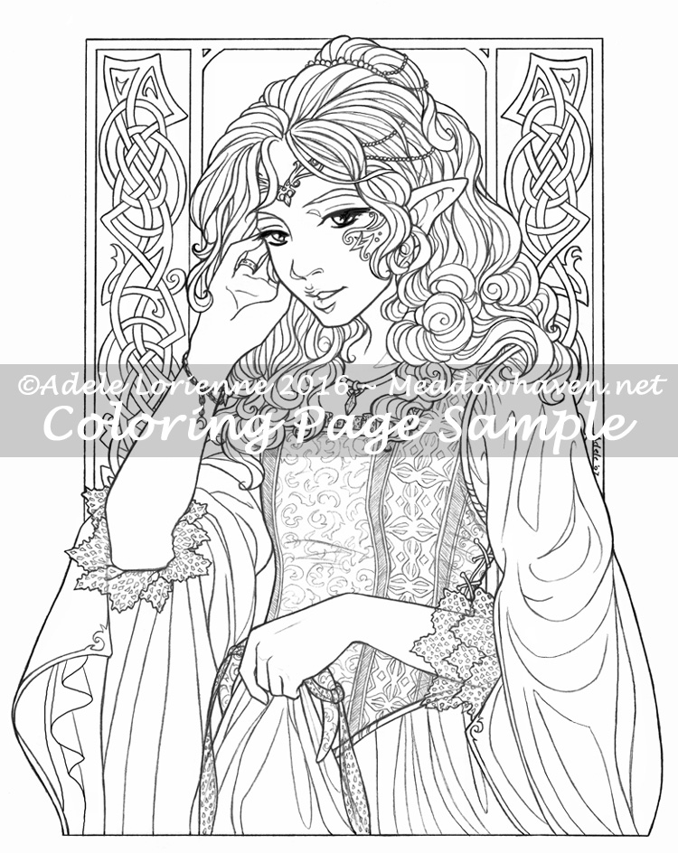 Elf Princess -Coloring Page | MeadowHaven